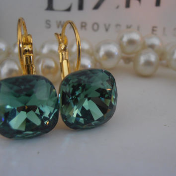 Swarovski Earrings, Erinite Green, Crystal, 12mm, 4470, Cushion Cut, Leverback Golden setting, Dangle, Drop, Wedding Jewelry