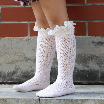 Children 's Leg Warms  Baby Crochet Knitted Button Lace Leg Warmers Trim Boot Cuffs Socks Girl Children Socks