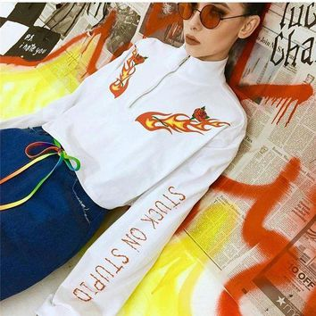 DCCKH3L Women Casual Fashion Personality Flower Flame Letter Print Long Sleeve Turtleneck Zip Sweater Short Tops