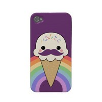 Cute Ice Cream with Mustache Iphone 4 Case-mate Cases from Zazzle.com