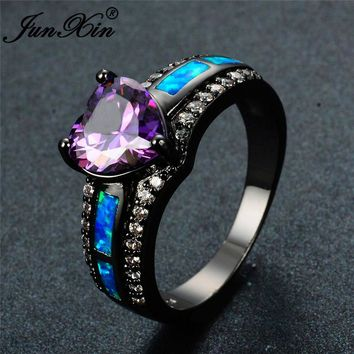 Charm Ring Heart Zircon Blue/White/Pink Fire Opal Rings For Women's Modern Dark Fashion