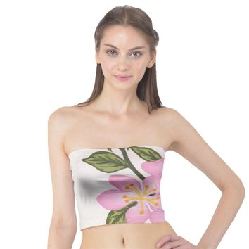 Pink Flowers Tube Top