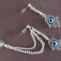 Hand of Fatima Ear Cuff Set Hamsa Evil Eye Cartilage Chain Earcuff Slave Earring