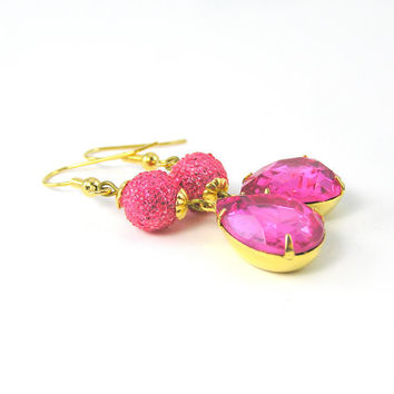 Vintage Sugar Bead Earrings, Pink Crystal Earrings, Hot Pink Jewelry, Neon, Spring, Bridesmaids Jewelry, Romantic Jewelry