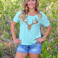 Women's Mint loose fitting deer skull t-shirt