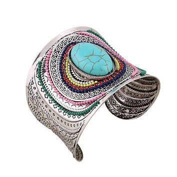 Turquoise Boho Open Wide-Arm Cuff