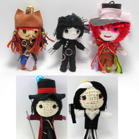 Johnny Depp Set 5 dolls Voodoo String Doll Keychain Jack Sparrow, Mad Hatter, Edward Scissor Hands, Willy Wonka, Sweeney Todd