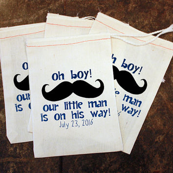 Mustache Favor Bags - Little Man Baby Shower / Custom 5x7 Muslin Bags / Candy Gift Bag / Mustache Baby Shower / Boys Treat Bag / Goody Bag
