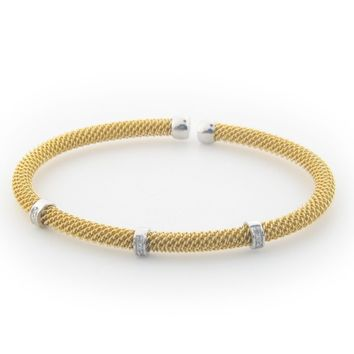Fronay Co .925 Sterling Silver Diamond Bangle Mesh Bracelet dipped in Gold ( 0.10 cttw)