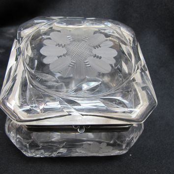 Cut glass dresser box hinged