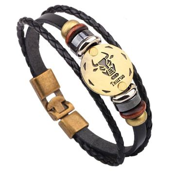 Zodiac Bracelets 12 Constellations Jewelry Leather Bracelet & Bangles for Men Handmade Casual Personality Signs Punk Bracelet