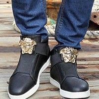 Versace Trending Women Men Casual High Help Low Help Sneakers Running Sports Shoes Black High Help