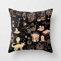 Halloween Print Throw Pillow by Minniemorrisart