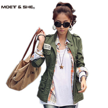 SM,L 2016 Spring Autumn Women Embroidery Military Army Green Jacket Drawstring Patchwork Foldable Coat casacos femininos C47001