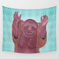 Happy Buddha Wall Tapestry by Katie Cozzi