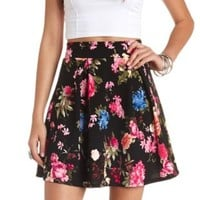 Floral Print Pleated Skater Skirt by Charlotte Russe - Black Combo