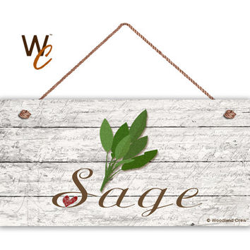 "Sage Sign, Garden Sign, Rustic Decor, Herb on Distressed Wood, Weatherproof, 5"" x 10"" Sign, House Gift, Gift For Gardener, Made To Order"