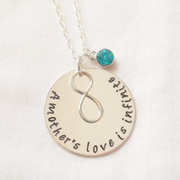 A Mother's Love is Infinite Necklace ~ Sterling Silver, Hand Stamped, Mother's Necklace, Mother's Day, Infinite Love