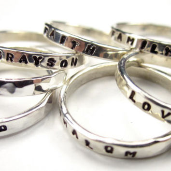 Stackable Mothers Rings- Handmade Hammered Sterling Silver Stacking Name Ring- Qty 1