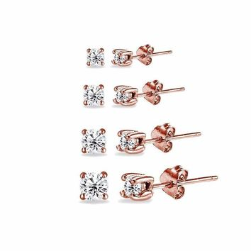 4 Pair Set Round CZ Stud Earrings in Rose Gold Plated 925 Silver 2mm 3mm 4mm 5mm