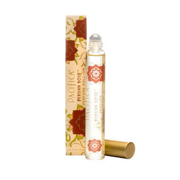Pacifica Roll On Perfume - Persian Rose - 10ml.  It is created with natural denatured alcohol and is fragranced with Bulgarian rose, subtle violet, delicate fruit and myrrh.