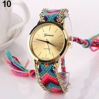 Colorful Cloth Knitted Band Friendship Travel Unisex Girl Casual Boho Watch