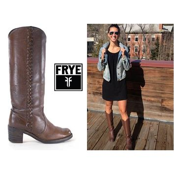 FRYE Boots Size 7 Campus Braided 1970s Tall Brown Western Cowboy Boots