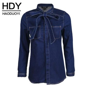 HDY Haoduoyi Single Breasted Long Sleeve Slim Blouse Solid Blue Bow Tie Boyfriend Denim Shirt Turn Down Collar Casual Basic Top