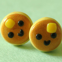Kawaii Smiley Pancake Earring Studs Polymer by PumpkinPyeBoutique