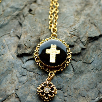 "Antique Gold Cross Necklace - Religious Jewelry -  Cross Necklace - Gold Pendant Necklace - 24"" Gold Cross Necklace - Antique Religion Gift"
