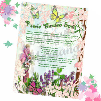 FAERIE GARDEN SPELL, Digital Download,  Wishing Spell, Faerie,  Book of Shadows Page, Grimoire, Scrapbook, Spells