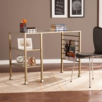 Southern Enterprises Metal/Glass Writing Desk - Matte Gold