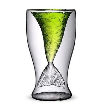 GlowHi Creative personality mermaid handmade glass cup ice cream cup double high-temperature glass of red wine 4.23 OZ (1) by Higlow
