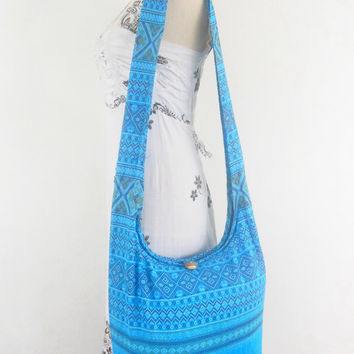 Vintage Blue Thai hill hmong tribal print Boho Hippie Hobo Bag Women handbag Crossbody bag  Sling Cotton Shoulder Messenger bag Tote Purse