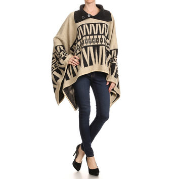 Geometric Pullover Poncho (color options available)