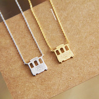Off To See The World Chariot Necklace,Gold Plated Necklace, Bar Necklace, Bar Dog Tag, Minimal Jewelry, Gift Ideas, Holiday