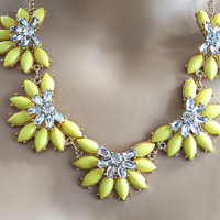 Crystal Flower Statement Bib Necklace, Statement Daisy Necklace, Daisy Bubble Necklace,Wedding Party Bridesmaids Jewelries--Yellow