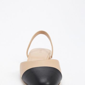 Faux Leather Cap Toe Slingback Flats