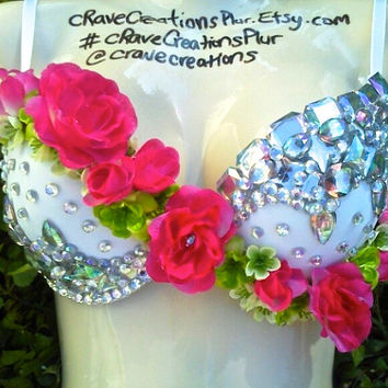 Hot Pink Rose Custom Bling Rave Bra Costume Rhinestone Flower Bustier Lingerie Green
