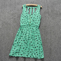 Summer Style 2016 Women Casual Dress Eagle Leopard Print Green Summer Dress vestido backless Dresses Plus Size Women Clothing