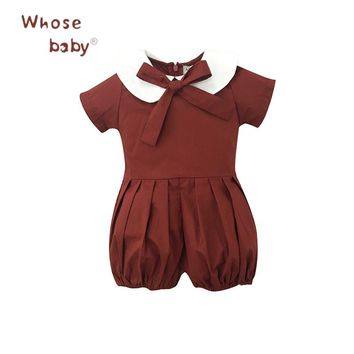 Baby Rompers Lantern Sleeve Baby Clothes Bow Peter Pan Newborn's Clothes Cotton Body Suit for Girls Costume Children Jump suit