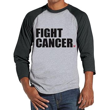 Men's Fight Cancer Shirt - Team Race Shirts - Cancer Awareness - Grey Raglan Shirt - Men's Grey Baseball Tee - Cancer Support Running Shirt