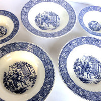 Shakespeare Country Homer Laughlin Blue Transferware Bowls