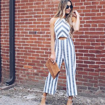 2018 Women's Striped Halter Jumpsuit Romper Summer Hollow Out Loose Trousers Boho Beach Long Playsuit Wide Leg Pants Overalls