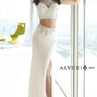 Alyce Paris 6391 Two Piece Jersey White Long Prom Dress
