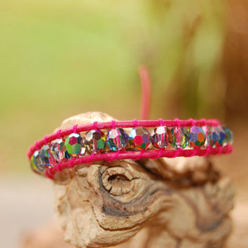 Wrapped Pink Leather Bracelet with Swarovski by authenticaboutique