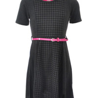 "Cookie's Kids > Star Ride Big Girls' ""Houndstooth Center"" Belted Dress (Sizes 7 – 16)"