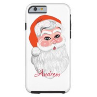 "Cute ""Santa Claus"" with name Tough iPhone 6 Case"