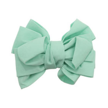 PASTEL GREEN BIG BOW BARRETTE