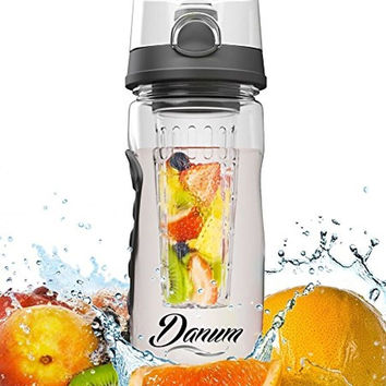 Danum Infuser Water Bottle Sport Flip-Top BPA-Free Tritan Large 32 Oz Fruit I...